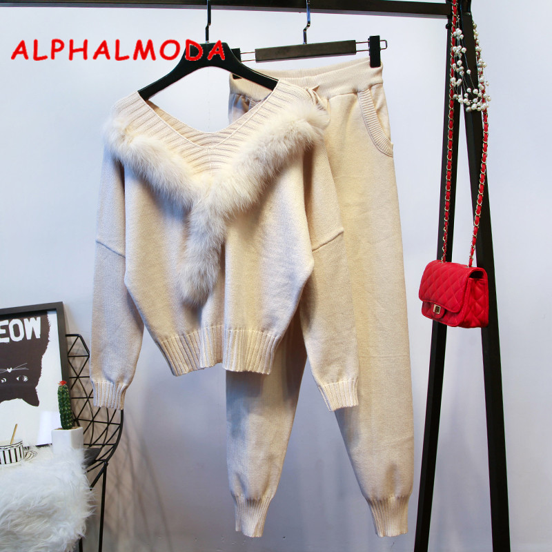 ALPHALMODA Real Fur Collar Sweater + Pants Women Winter Fashion Two Pieces Set Solid Color Quality Clothing Suits Knitting Set