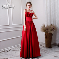 QSYYE 2019 New Red Long Prom Dresses Robe de Soiree Spaghetti Straps Ruched Satin Floor Length Formal Evening Dress Party Gown