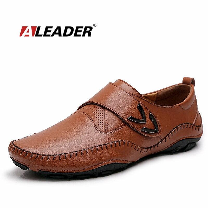 ALEADER/мужские кожаные лоферы, новинка 2017, повседневная обувь на плоской подошве, мужские мокасины для вождения, Модные слипоны, Мужская Рабоч...