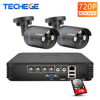 Techege 4CH 720P AHD DVR Kit 1.0MP Security Surveillance System 2PCS Outdoor indoor AHD Cameras 1200TVL CCTV Camera kit