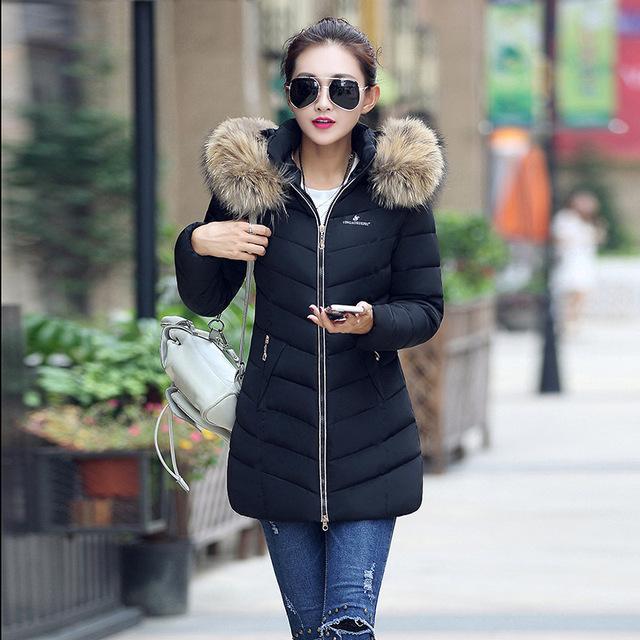 2016 Nova Moda Inverno Amassado Mulheres Jaqueta de Algodão-acolchoado Jaqueta Grande Gola De Pele Para Baixo Casaco Jaqueta de Algodão Acolchoado-casaco Womwen