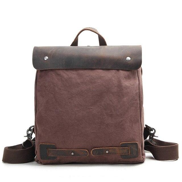 خمر قماش جلد على ظهره المشي Daypacks كمبيوتر محمول الظهر للجنسين عارضة الظهر حقيبة الكتب تسلق الجبال