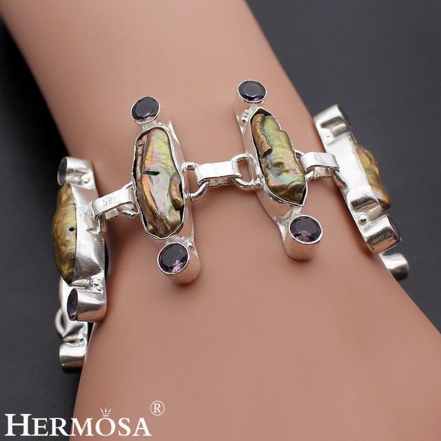 Hermosa Joyería Única Biwa Perla Amatista 925 Pulsera de Plata de 8 pulgadas Ajustable HM161