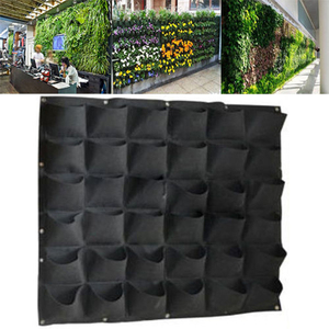 18/36/56 Pockets Grow Bag Planter Non-oven Fabric Vertical Garden Hanging Green/Black for growing herbs flowers vegetables