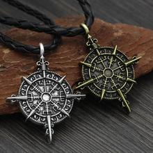 Vikings Amulet Symbol Slavic Punk Vintage Necklace Gift Odin Logo Long Spear Pendant Accessories Jewelry Talisman
