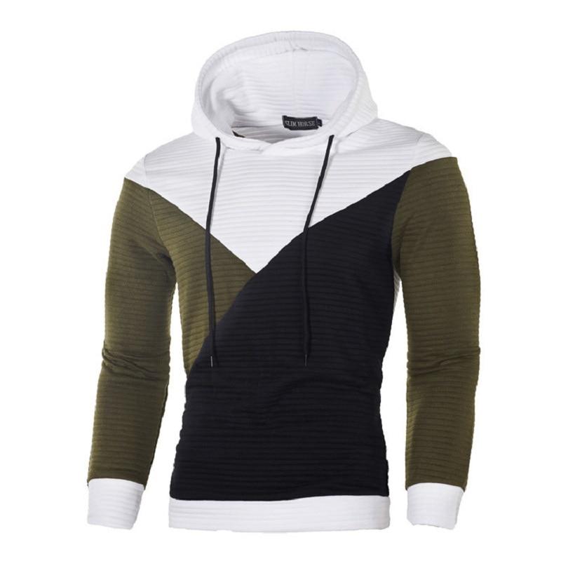Men Sportswear Autumn Winter patchwork Hoodies Long Sleeve Pullover Hooded Sweatshirt Sweat Coat casual hoodies and sweatshirts