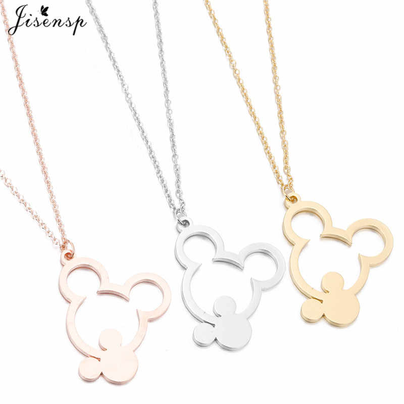Jisensp Trendy Cartoon Mickey Necklaces Pendants Gold Stainless Steel Jewelry Cute Animal Mouse Necklace New Year Bijoux