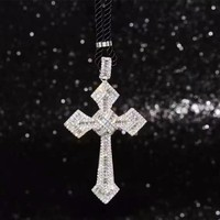 100 Real Pure 925 Sterling Silver Cubic Zirconia Cross Pendant Necklace Brand Sparkling Jewelry God Blessing