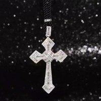 100% Sterling Silber Zirkonia Kreuz Große Anhänger Halskette Chian Funkelnden Schmuck Marke Halskette Männer Frauen Top-qualität
