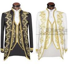 (Куртка + Штаны + жилет) золото 2018 Мода Для мужчин костюмы Slim Fit Фрак Жених Свадебное платье для выпускного вечера костюм вышитые мужской для смокинг