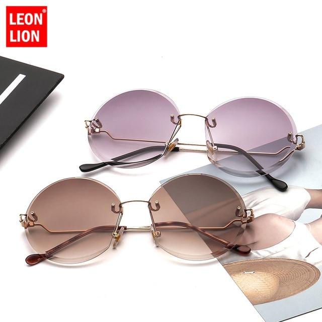 LeonLion 2019 Metal Goggle Rimless Sunglasses Women Ocean Lens Classic Brand Designer Men/Women Sun Glasses Women UV400 Box