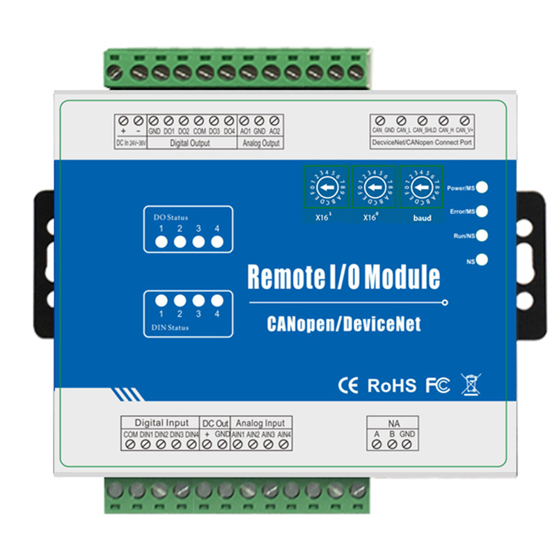 Fieldbus Remote Data Acquisition Module Supports Standard CANopen Protocol 2 Channel 0 To 10V Analog Output M200C