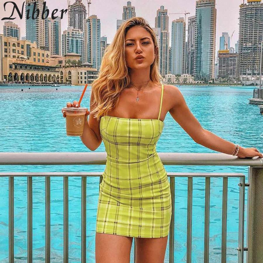 Nibber летние Бандажное облегающее платье мини для женщин в клетку с лямкой на шее пикантные Клубные вечерние женские dress2019 пляжные Повседневное отдых короткое платье