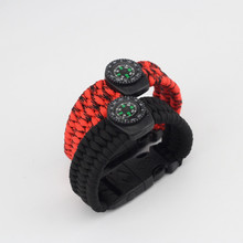 Emak Braided Bracelet Paracord Outdoor Survival Camping Rescue Emergency Rope Bangles Compass Whistle Knife 4 in1