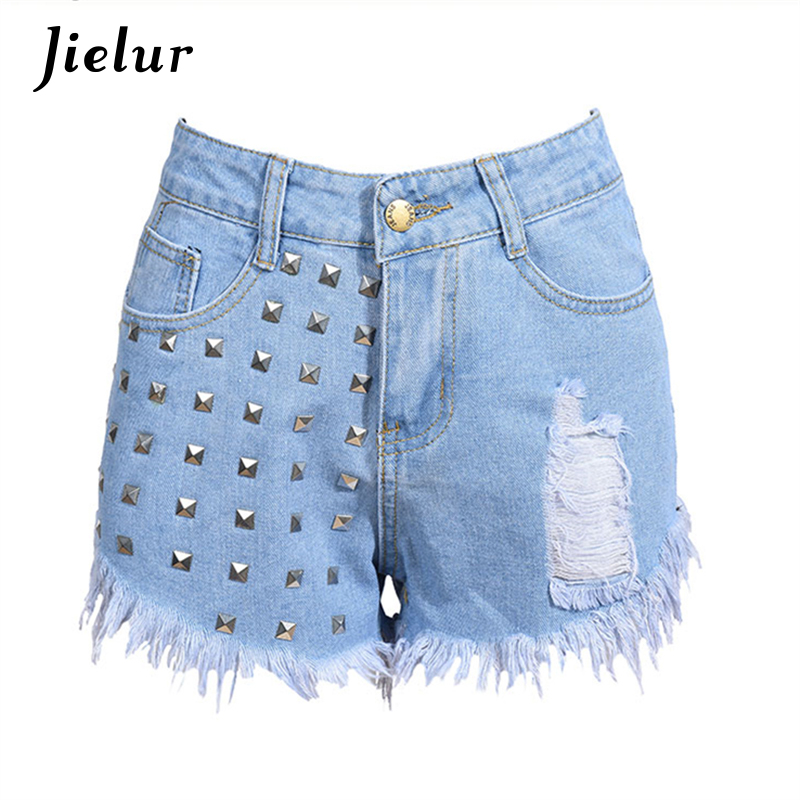2017 Summer Fashion Rivets Tassel Women Denim Shorts High Waist Casual Hole Jeans Women Black White Light Blue S-2XL Hot Sale chicd 2017 new women basic shorts summer fashion slim mid waist white letter printing pockets denim jeans shorts mujer xp377