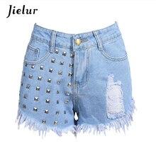 2019 Summer Fashion Rivets Tassel Women Denim Shorts High Waist Casual Hole Jeans Women Black White Light Blue S-2XL Hot Sale