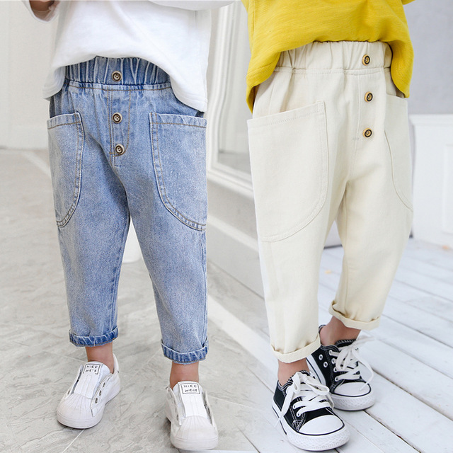 2 3 4 5 6 Years Toddler Boy Jeans Fashion Korean Casual Denim Pants Baby Kids Spring Autumn Trousers Elastic Waist Loose Pants(China)