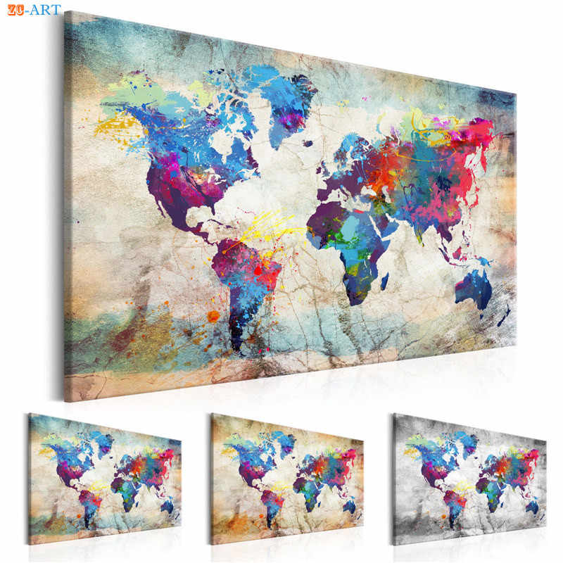 Abstract World Map Canvas Painting Vintage Posters and Prints Colorful Wall Art Wall Pictures for Living Room Home Decor