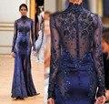 Горячая распродажа высокая шея русалка арабский платья знаменитостей длиной до пола аппликации из бисера вечерние платья атласная ну вечеринку платья Vestidos