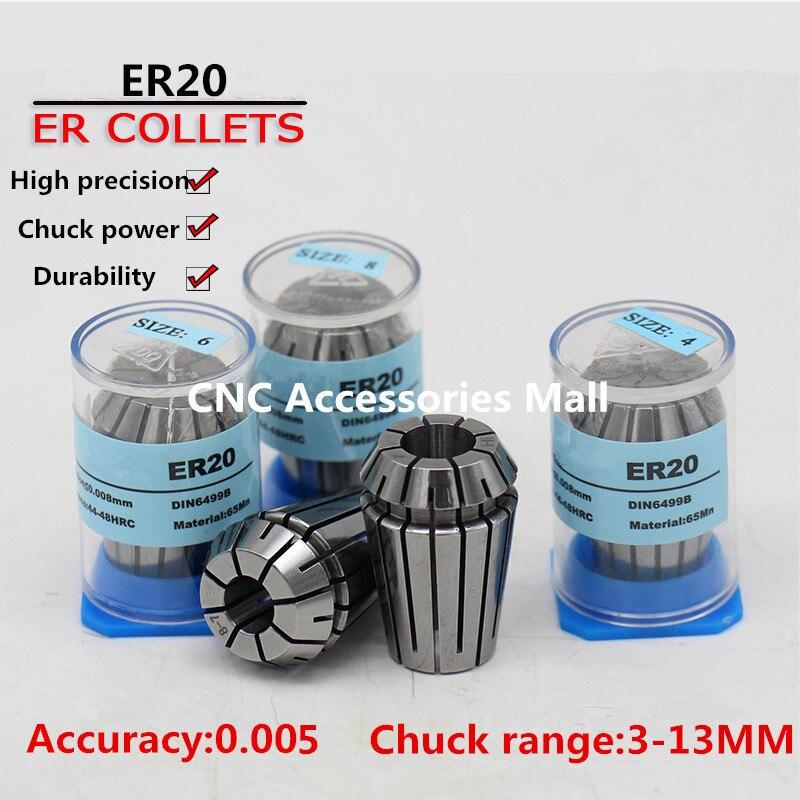 12pcs ER20 high precision 0.005mm Spring Collet chuck For CNC Engraving Milling 2pcs high precision power collet chuck adapter mayitr milling tool for engraving machine router tools bits cnc parts 8 6 35mm