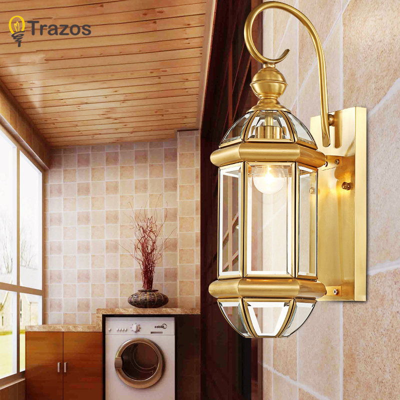 Hot Sale Vintage Copper Wall Lights Antique Garden Light Indoor Outdoor Lighting Bedroom Retro Copper