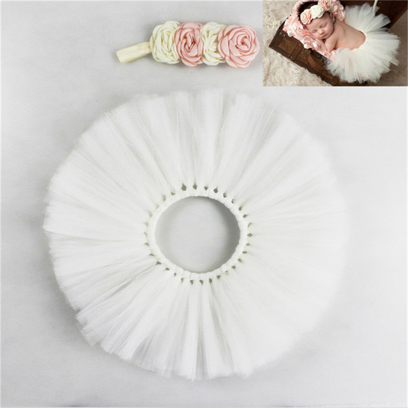 Newborn Photography Props Infant Costume Outfit Princess Baby Tutu Skirt Headband Baby Photography Prop Colorful Rainbow Dress