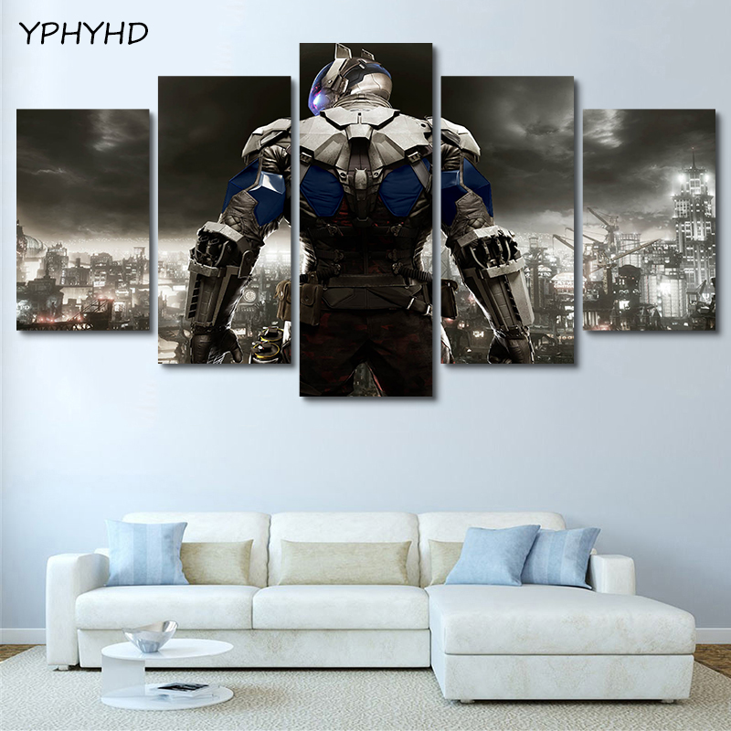 YPHYHD Modern 5 Pieces Batman Arkham Knight Game Decorative Paintings Posters Prints Paintings for Living Room Posters Wall Art image