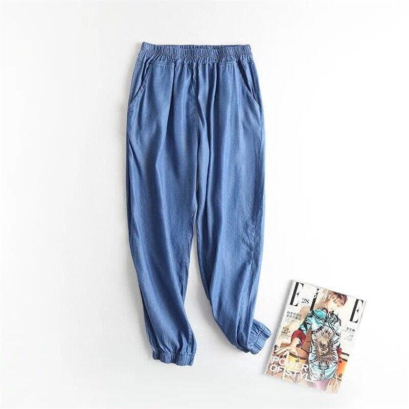 Autumn 2019 New femme elastic Jeans trousers women Summer street pants Casual women Denim Lantern pants Sashes Plus Size 7XL
