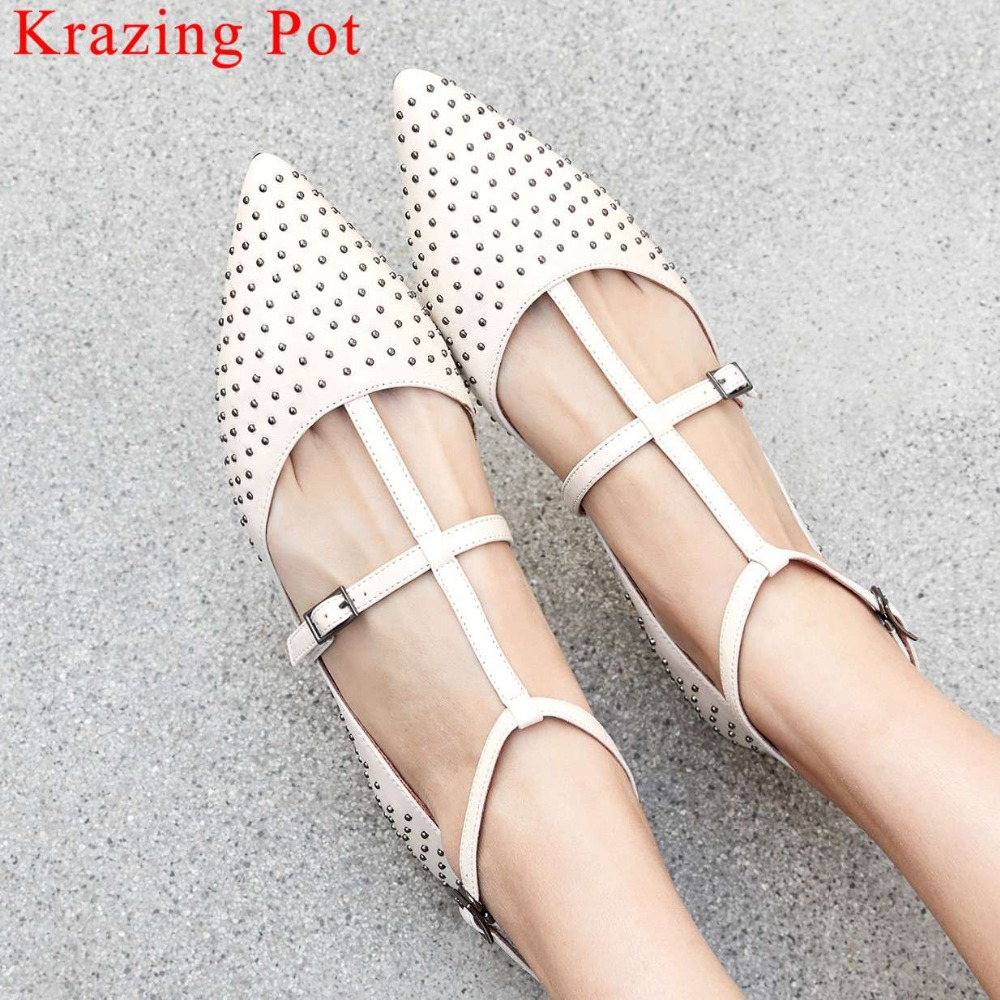 2019 hamdmade full graiin leather buckle strap oxford pointed toe rivet studded decoration sweet girls dating
