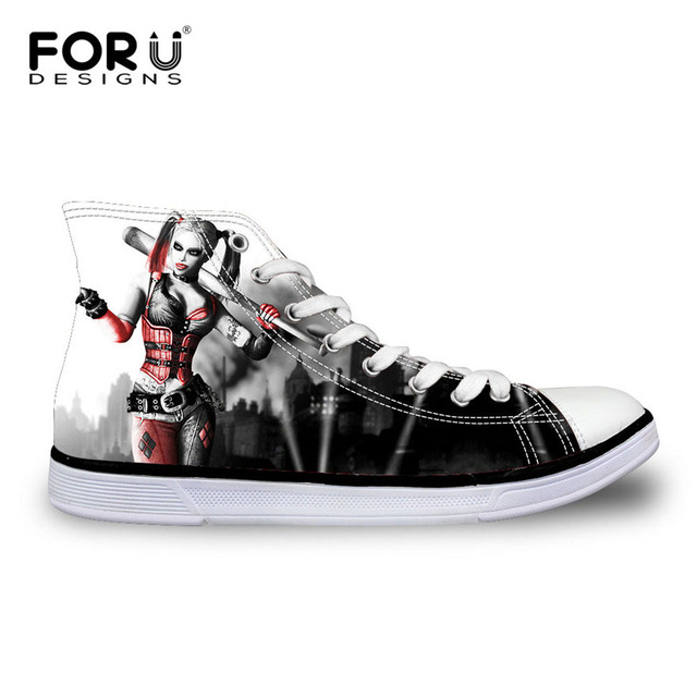 FORUDESIGNS Women Casual Shoes Classic High Top Canvas Shoes,Funny Harley Quinn Print Shoes for Girls Breathable Lace-up Flats