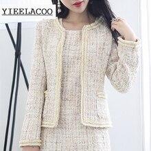 Khaki tweed jacket sequined fabric custom spring / autumn / winter women's