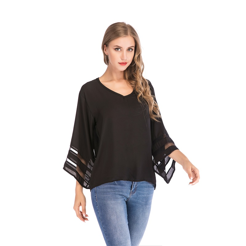 Womens 3//4 Bell Sleeve V Neck Lace Patchwork Blouse Casual Loose Shirt Tops