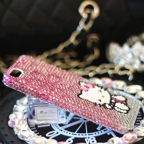 For iPhone X Bling Crystal Luxury Pink Hello Kitty Diamond case for iphone  6 6S 6Splus 7 7plus 8 8plus 5S SE hard back case gift-in Half-wrapped Case  from ... 3e6f7d6fb4dea