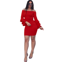 Red OL Elegant Bodycon Dress 2017 Women Off Shoulder Tiered Ruffle Cute Long Sleeve Dress Autumn