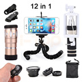 New Camera lentes Kit 10X Telephoto Zoom Telescope Lenses Fisheye Wide Angle Macro Lens With Selfie Stick Clips Mobile Tripod