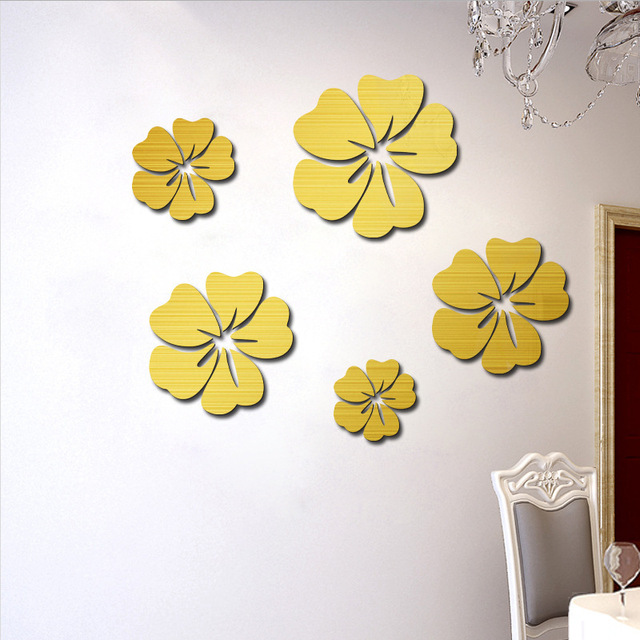 5pcs /lot 3D Flowers wallpaper mirror acrylic wall stickers living ...