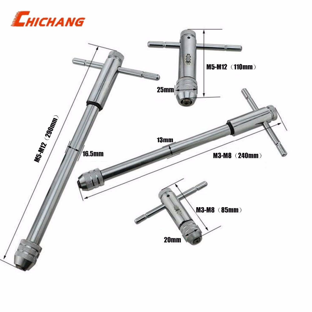 M3-M8 M5-M12 Lengthen Reversible T Handle Ratchet Tap Taps Wrenches Wire tapping Wrench Adjustable Holder Tool цена