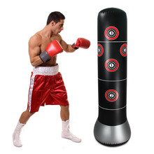 цены 160cm Boxing Punching Bag Inflatable Free-Stand Tumbler Muay Thai Training Pressure Relief Bounce Back Sandbag with Air Pump