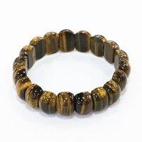 Yellow Natural Stone Tiger Eyes Geometry Beads 11x15mm Strand Manual Bracelets & Bangles For Women Men Diy Jewelry 7.5inch B3274
