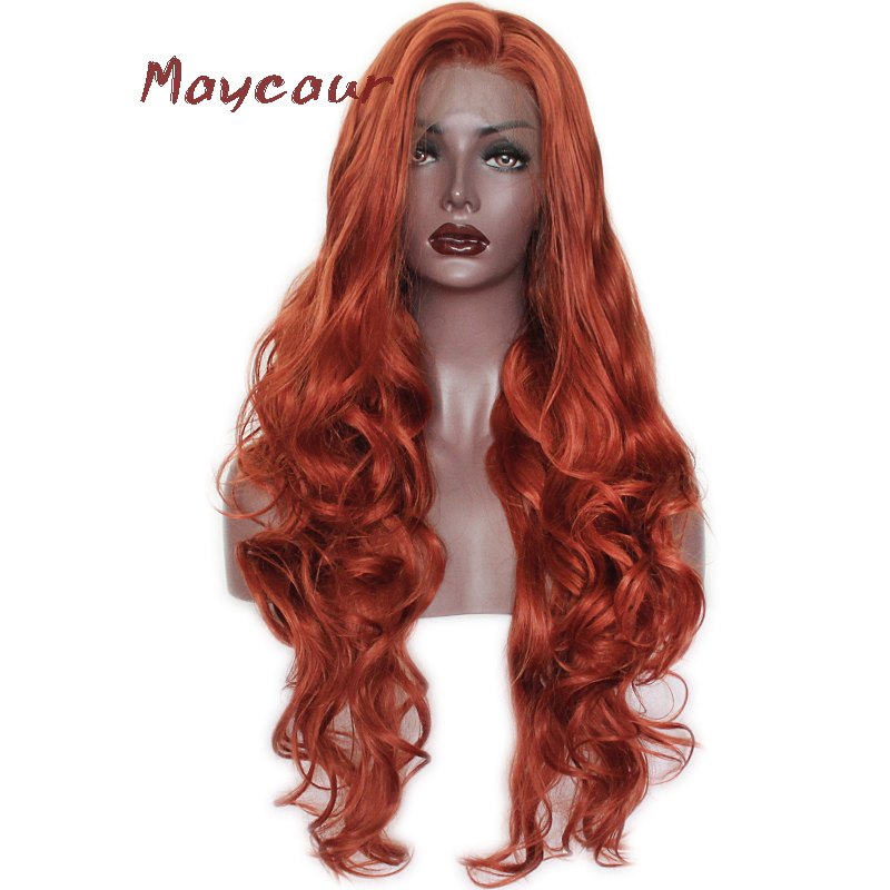 Orange Long Wave Synthetic Lace Front Wigs Free Part Natural Hair Wigs For Women 180 Density