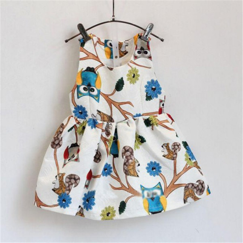 Chic Kids Baby Girls Dress Sleeveless Owl Print Tutu Dresses One Piece Party Clothes