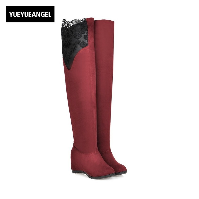 Sexy Ladies Splice Lace Floral Thing High Boots Womens Autumn Concealed Round Toe Faux Suede Overknee Boots Size 34-43 Footwear