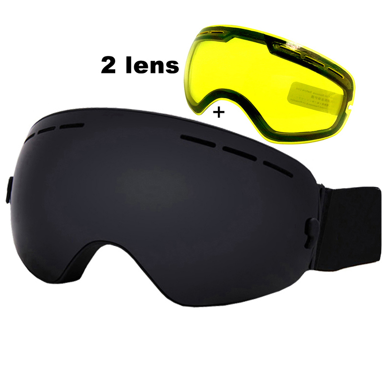 Anti-fog Ski Goggles UV400 Ski Glasses Double Lens Skiing Snowboard Snow Goggles Ski Eyewear With One Brightening Lens polisi winter snowboard snow goggles men women double layer large spheral lens skiing glasses uv400 ski skateboard eyewear