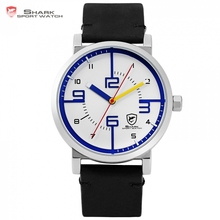 Bahamas Saw SHARK Sport Watch Top Brand Designer White Blue Simple Dial Men Crazy Horse Black Leather Band Quartz Watches /SH570