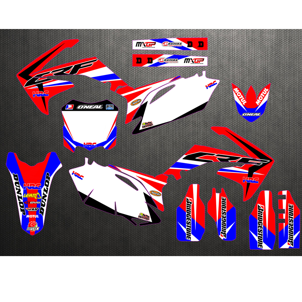 Motorcycle New Team Graphics Background Decal Sticker Kit For Honda CRF250 CRF250R CRF450 CRF450R CRF 250