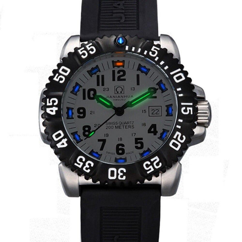 Carnival Mens Sport Military Tritium Luminous 200m Waterproof Slicone Watchband Quartz Diving Watch - black Bezel White Dial