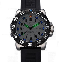 Carnival Mens Sport Military Tritium Luminous 200m Waterproof Slicone Watchband Quartz Diving Watch – black Bezel White Dial