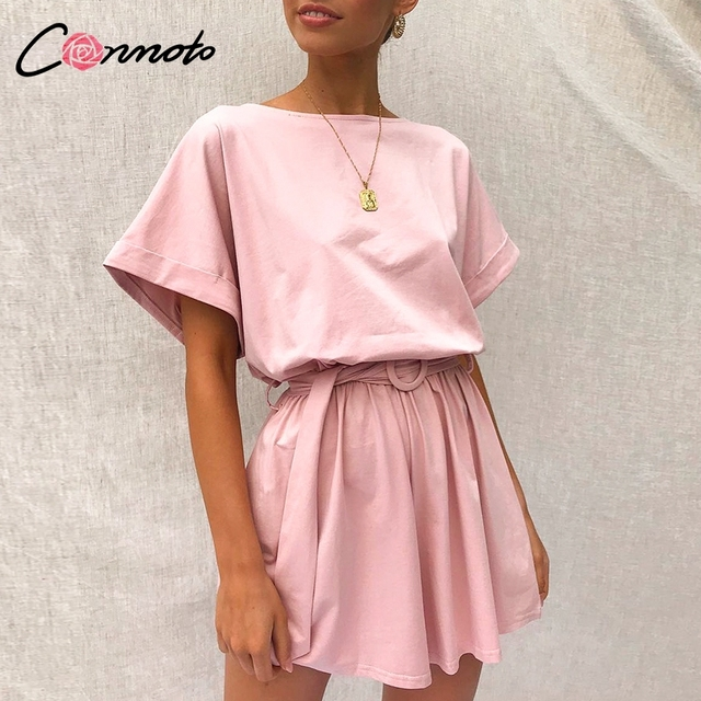 Conmoto Solid Casual 2019 Summer Women Playsuits Romper Beach Belt Tie Loose Female High Fashion Cotton Playsuit 2