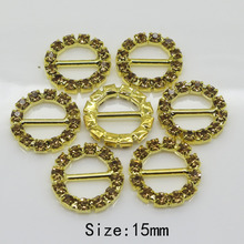 10PC 15MM Golden round rhinestone buckle metal Ribbon wedding Invitation card decoration buckle hair flower center scrapbooking(China)