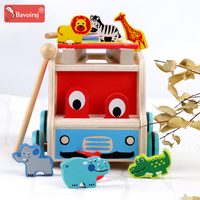 Wooden Baby Montessori Toys Colorful Animal Hand Trailer Education Shape Wood Toy For Children Learing T0290